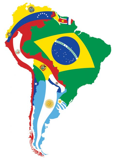 """Check out this artistic rendering of the map of South America.  Using flags it shows conveys the interrelationships between nations and regions in this amazingly heterogeneous and diverse """"market.""""  Is #LatinAmerica part of your business #growthStrategy?"""