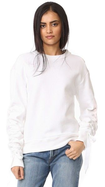 White DKNY Pullover with Ruched Ties  311f039d1