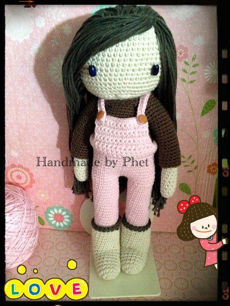 Zwart Haar Mijn Gehaakte Pop Crochet Doll Ma Poupée Au