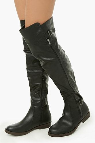 dccbd5adbf Faux Leather Belted Over-the-Knee Boots