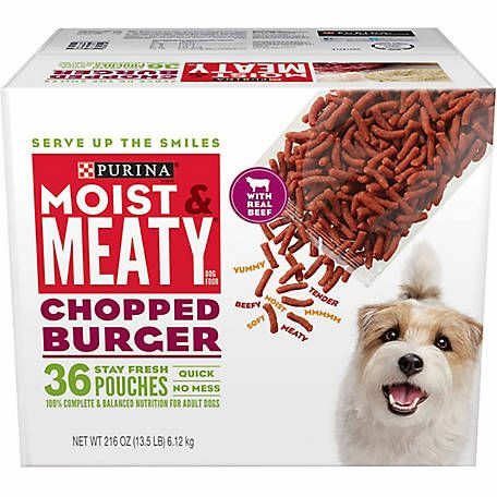 Purina Moist Meaty Chopped Burger Dog Food 36 Count Box At