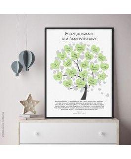 Drzewo Z Serduszkami Na Podpis Zielone Plakat Dla Nauczyciela Cardmaking Gifts Frame