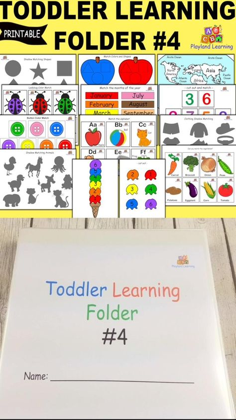 Toddler Learning Folder #4, Busy Book Printable, INSTANT DOWNLOAD, Educational Printable, Homeschool