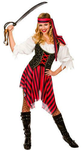 High Seas Pirate Ladies Fancy Dress Adults Costume Pirates Womens Outfit New