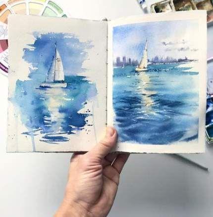 Drawing Nature Landscapes Pencil Watercolor Painting 65 Ideas Watercolor Pencil Art Watercolor Paintings Nature Sea Drawing