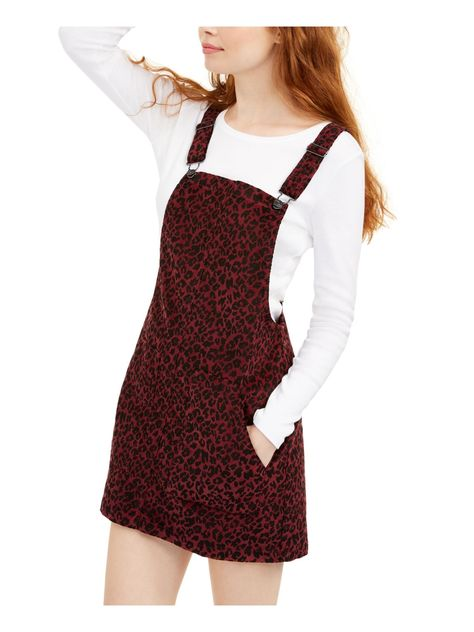 VANILLA STAR Womens Burgundy Animal Print Spaghetti Strap Short Sheath Dress - 0 / Burgundy