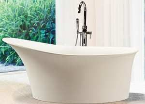 Mti Lily Modern Solid Surface Slipper Tub 60 X 32 Pictured With Mti Freestanding Faucet Free Standing Tub Slipper Tubs Slipper Bathtub