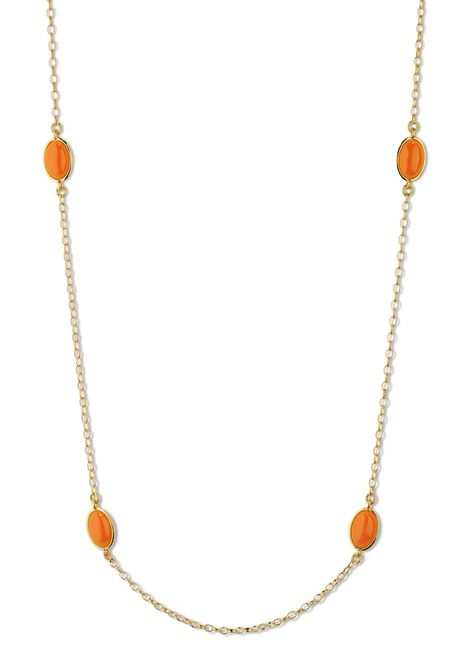 Ponte Coral Stone Chain, Coral and Gold