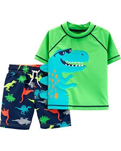 Details about  /Carter's 2T 3T 5T T-rex Dinosaur Swim Set Rash Guard Trunks Suit NEW
