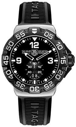 WAH1010.FT6026    NEW TAG HEUER FORMULA 1 MENS QUARTZ WATCH IN STOCK - Hassle free returns thru Jan 31st   - FREE Overnight Shipping | Lowest Price Guaranteed    - NO SALES TAX (Outside California)- WITH MANUFACTURER SERIAL NUMBERS- Black Dial- Battery Operated Quartz Movement- 3 Year Warranty- Guaranteed Authentic  - Certificate of Authenticity- Brushed Steel Case  - Black Rubber Strap  - Scratch Resistant Sapphire Crystal- Manufacturer Box