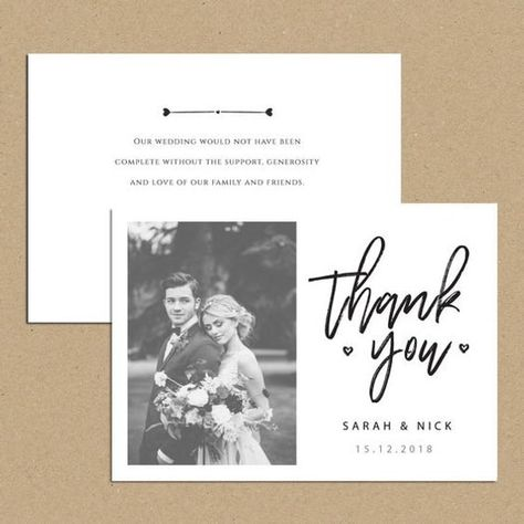 RUSTIC WEDDING THANK YOU CARDS ==================== #Printed on thick kraft rustic card #Single or Double Sided #Free envelopes #Personalised with photo **For an extra touch add some String Tie or ribbon*** Either purchase an editable print from home DIY file or I can print and post the cards to