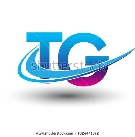 Initial Letter Tg Logotype Company Name Colored Blue And
