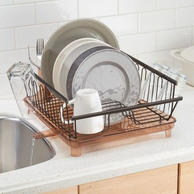 Mdesign Large Kitchen Dish Drying Rack With Adjustable Swivel Spout Bronze Dish Rack Drying Kitchen Dishes Drying Rack Kitchen
