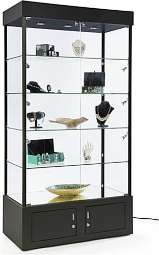 41 Display Case W 9 Led Lights Mirror Bottom Enclosed Cabinet Locking Black Glass Shelves Display Case Shelves