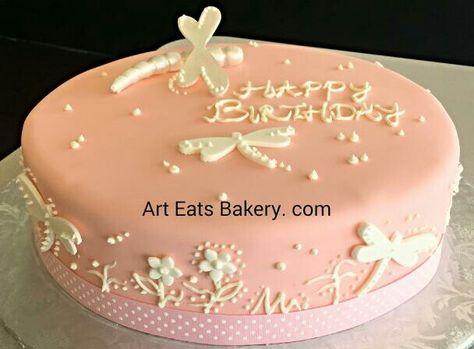 Wondrous Ladys Custom Pink Fondant Birthday Cake Design With Funny Birthday Cards Online Kookostrdamsfinfo