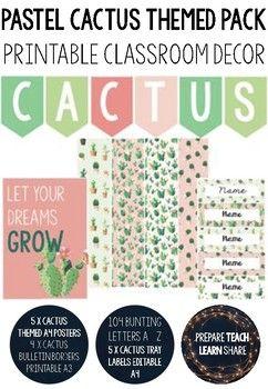 Pastel Cactus Themed Classroom Bundle Pack | Classroom Decor