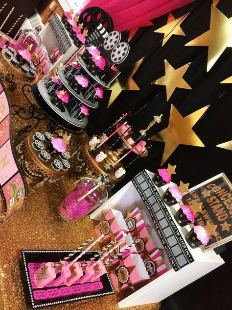 Gold and pink Hollywood birthday party! See more party planning ideas at CatchMyParty.com!