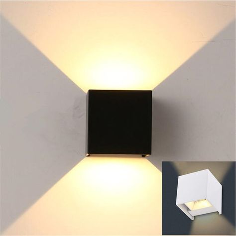 High Quality 7w Outdoor Led Wall Light Wall Mounted Cube Lamp Path Lamp White Black Up And Down Luminescence Waterproof Ip65 With Images Cube Lamps Wall Lights Lamp