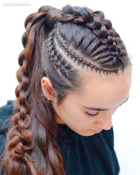 Viking Braid Tutorial for Long Hair Viking Braid Tutorial for Long Hair,Hair Raising Girlie Stuff Jessica and Trencita are mother and daughter who both love beautiful braids! Their creative hairstyles are popular. Creative Hairstyles, Latest Hairstyles, Cool Hairstyles, Halloween Hairstyles, Viking Hairstyles, Hairstyle Ideas, Braided Hairstyles Tutorials, Wedding Hairstyles, Braided Hairstyles For Short Hair