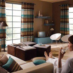 Décoration salon avec la combinaison marron et bleu | Salon d ...