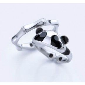 Panda Love Hand Stamped Aluminum Spiral Ring