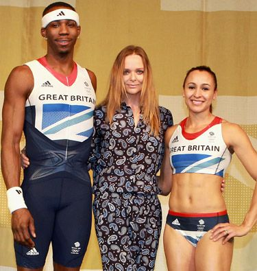 Designer Stella McCartney shows off her uniform creations for Great Britain Olympic team