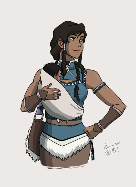 "eviechan68:  Mama!Korra ""wearing"" her baby in a sling because I'm sure she would be the type to carry her baby around EVERYWHERE (imagine in a meeting with the world leaders and the baby starts to cry and people goes ""it's not a place for a child"" and Korra's don't give two fucks because it's her FREAKING KID AND YOU GOTTA DEAL WITH IT! lol    Happy Mother's Day!!!"
