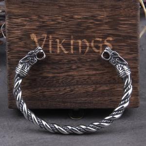 Geri and Freki Stainless Steel  Fenrir Arm Ring Norse Nordic Viking Jewelry Wolves of Odin Viking Bracelet