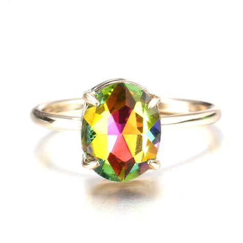 Simple Adjustable Crystal Open Rings Colorful Gemstone Gold Band Engagement Bridal Jewelry for Women