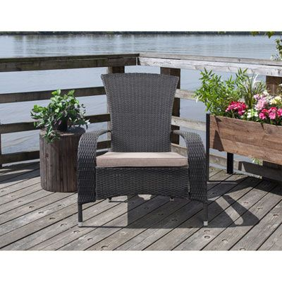 Lakeside Resin Wicker Adirondack Patio Chair With Cushion Black Beige Only At Best Buy Patio Chairs Outdoor Furniture Sets Cool Things To Buy