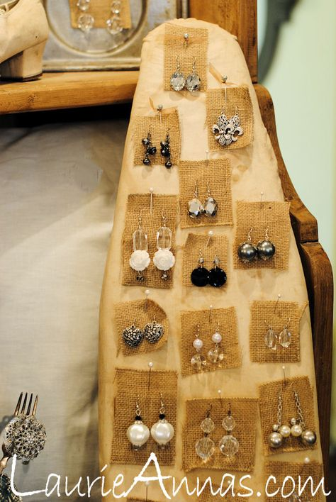 Repurposed for Bling - ironing board jewelry display. This would look great in your shop.    #JewelryInspiration #CousinCorp