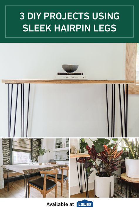Are you in need of a simple yet modern side table? What about a plant stand? Or maybe an affordable desk for your work from home needs? All of these projects are not only accomplishable with Ornamental's hairpin legs, they are easy enough for anyone to do on a slow Saturday morning.