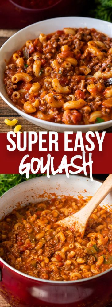 This Easy Goulash Recipe is a quick and affordable one pan dinner that's filled with ground beef and macaroni in a hearty and cheesy tomato sauce. This Ground Beef Goulash Recipe is a quick and easy one pan dinner that's pure comfort food. Easy Goulash Recipes, Crockpot Recipes, Cooking Recipes, Rib Recipes, Oven Recipes, Chicken Recipes, Recipies, Sausage Recipes, Easy Cooking