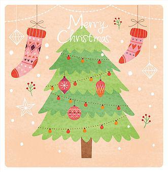 일러스트 카드 우편 겨울 연말 크리스마스 사람없음 눈결정 나무 크리스마스장식 오너먼트 산타양말 팬시 크리스마스 트리 크리스마스 카드 크리스마스 장식