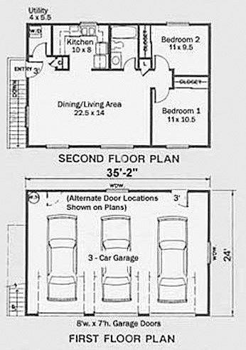 3 Car 2 Story Apartment Garage Plan 1632 1 35 2 X 24 Garage Apartment Plans Garage Plan Carriage House Plans