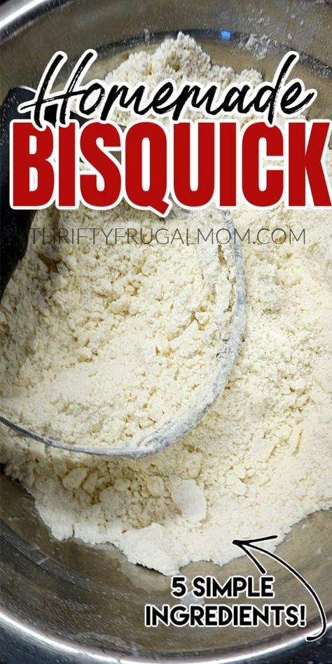 This homemade Bisquick Mix is takes just minutes to mix up and is made with simple everyday ingredients: butter, flour, baking powder, salt and sugar. Plus, it's super inexpensive to make so it will save you money too! Homemade Dry Mixes, Homemade Spices, Homemade Seasonings, Homemade Baking Powder, Homemade Breads, Homemade Food, Churros, Bisquick Recipes, Bisquick Homemade