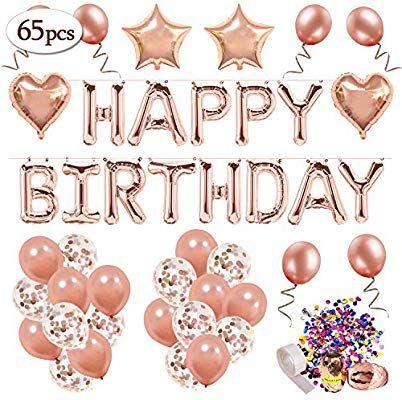Mmtx Geburtstagsdeko Rosegold Happy Birthday Girlande Ballons