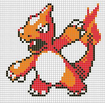 Charmeleon By Hama Girl Pixel Art Pokemon Cross Stitch