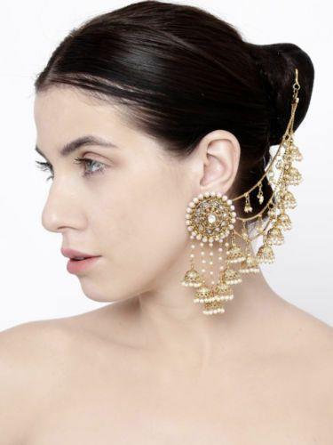 Bollywood Indian Jhumki Earrings Maang Tikka Set With Kaan Chain Fashion Jewelry