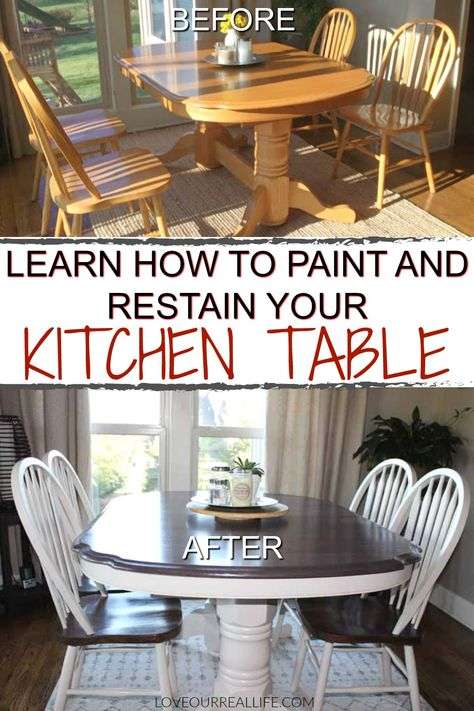 Get the full tutorial to paint and restain your kitchen table. Learn what type of paint works great and what things to avoid so your table will last you for years to come! kitchen table redo Learn How to Paint and Restain your Kitchen Table Refinishing Kitchen Tables, Painted Kitchen Tables, Dining Table Makeover, Kitchen Table Makeover, Kitchen Redo, Dining Room Table, Table And Chairs, A Table, Painting Kitchen Chairs