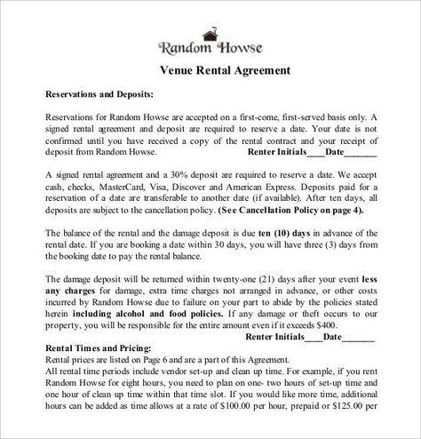 9 Room Rental Agreement Template
