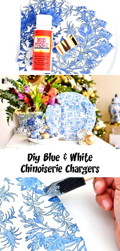 DIY blue and white chinoiserie dinner plate chargers made with affordable dollar store supplies. An easy holiday craft to enhance your Christmas tree and holiday decor decor. GORGEOUS! #DIY #DIYHomeDecor #diycrafts #christmasdecor #christmasdecorationideas #christmascrafts #christmasdecorations #christmasdecorationsDIY #christmasdecorating #holidaydecor #holidayseason #holidaydecorations #holidaycrafts #HomeDecorDIYChristmas #gold decor diy dollar stores