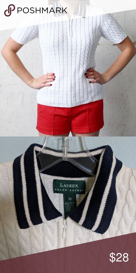 ebb4c5856 Vintage Ralph Lauren preppy sweater top Vintage knit Ralph Lauren top.  Zip-up collar. Size medium . . .  tennis  tennissweater  cableknit  polo   polosweater ...