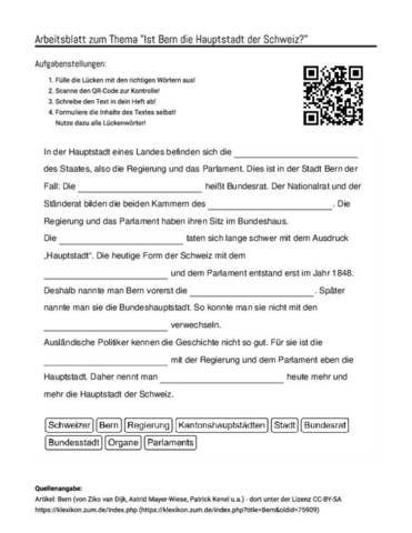 Arbeitsblatt Mit Luckentext Zum Thema Ist Bern Die Hauptstadt Der
