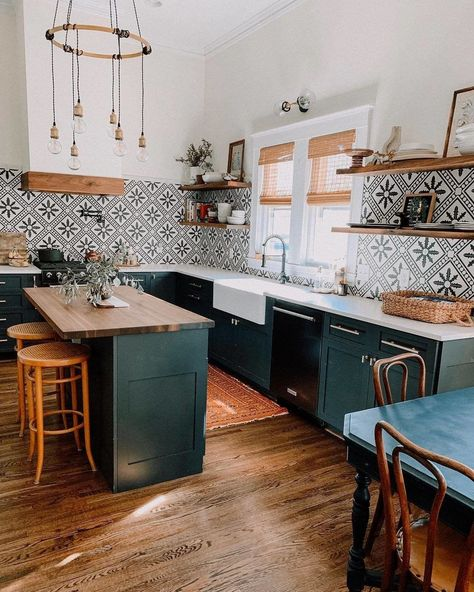 Bold Patterns and Organic Materials Create an Unforgettable Kitchen Design Warm organic materials combine with striking patterns and hues to create an unforgettable kitchen design.