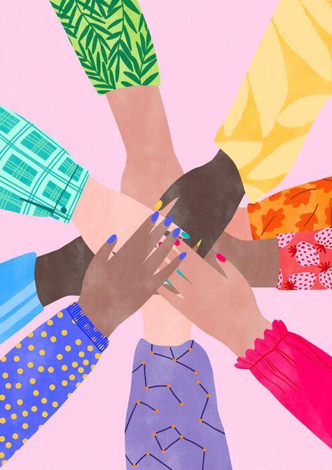 Hands in Feminist Illustration, Sisterhood, International Women's Day Illustration, Feminist Illustrator | Illustration by Octavia Bromell @tinkoutsidethebox