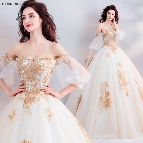 3aa03f3a11ab $181, Classic Gold With White Ball Gown Princess Wedding Dress Off Shoulder  #T69025 at GemGrace. #2019 #BallGownWeddingDresses Shop now to get $10 off.