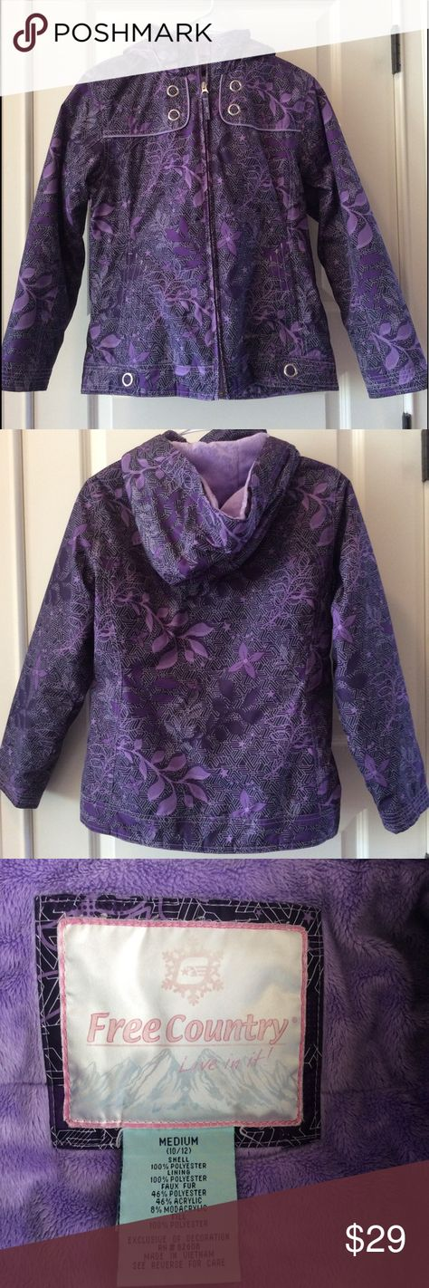 Free Country hooded waterproof jacket Girl's Warm Winter Jacket/Coat with hood. Waterproof for rain/wind/snow. Like new in excellent condition. Soft faux fur lining in lighter purple/lavender.