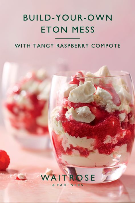 Celebrate British summer desserts. Crisp meringue with a chewy centre, tangy raspberry compote and fresh whipped cream. Tap to shop our build-your-own Eton mess.  Tap to shop now at Waitrose  Partners.