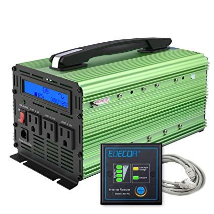 Edecoa 1500 Watt Pure Sine Wave Power Inverter 3000w Peak Dc 12v To 120v Ac With Lcd Display And Remote Controller Review Power Inverters Sine Wave Lcd